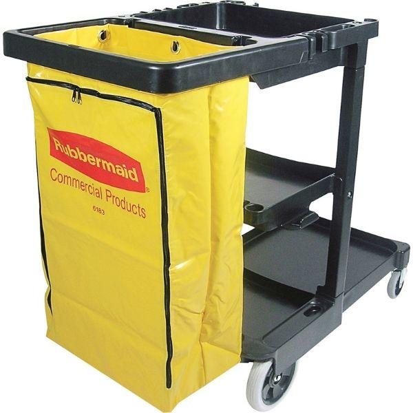 Chariot de concièrge noir avec sac en vinyle jaune