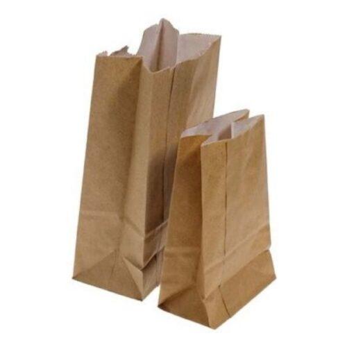 Sac en papier brun font plat /500